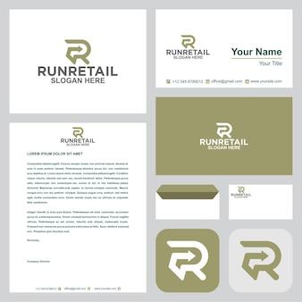Uruchom logo detaliczne lub litery r z wizytówką