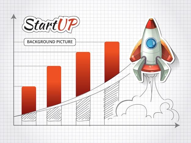 Uruchom nową infografikę projektu biznesowego z rakietą. osiągnięcie i początek, grafika sukcesu