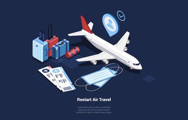 Uruchom ponownie ilustracja podróży lotniczych w stylu cartoon 3d