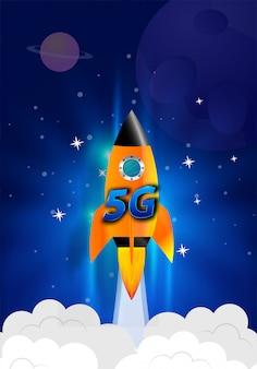 Uruchom rakietę. chmury dymu. koncepcja prędkości sieci bezprzewodowej, ewolucja 5g.