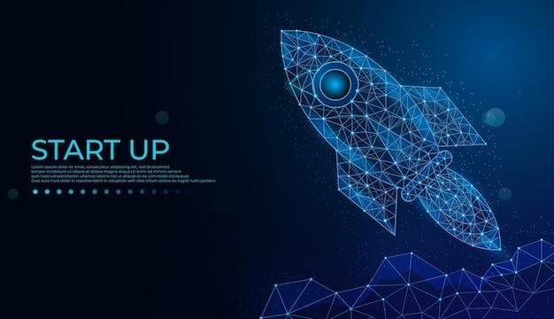 Uruchom rakietę startup koncepcja biznesowa tworząca trójkąt linii i styl cząsteczkowy