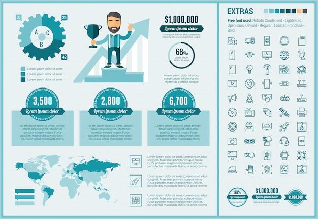Uruchom szablon infografiki płaska konstrukcja i zestaw ikon