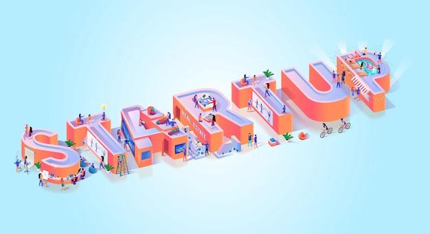 Uruchomienie creative business idea typografia banner