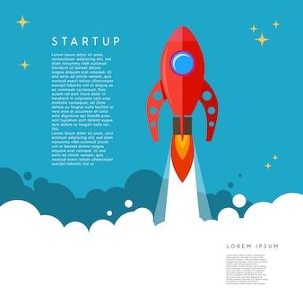 Uruchomienie. ilustracja wystrzelenia rakiety w stylu cartoon. wizerunek