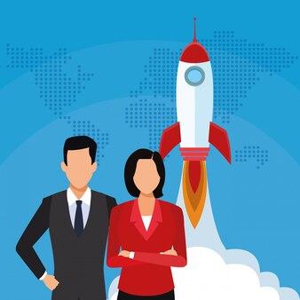 Uruchomienie rakietowego biznesmena bizneswomanu sukcesu zaczyna biznes