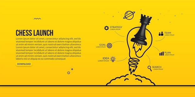 Uruchomienie wieży szachowej z żarówką infograficzną koncepcją strategii biznesowej i zarządzania