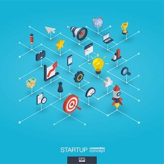 Uruchomienie zintegrowane ikony sieci web 3d. koncepcja wzrostu i postępu