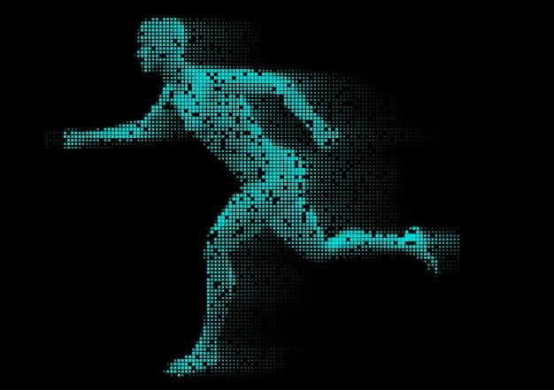 Uruchomiona pikselowana postać mężczyzny