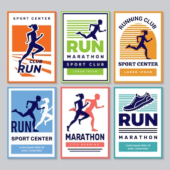 Uruchomiony plakat klubu. kolekcja plakatów zwycięzców maratonu sportowców sportowców fitness dla zdrowych ludzi