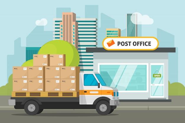 Urząd pocztowy na miasto ulicie i ładunek ciężarówce ładującej lub dostarczającej pakuneczek boksuje ilustracyjną płaską kreskówkę
