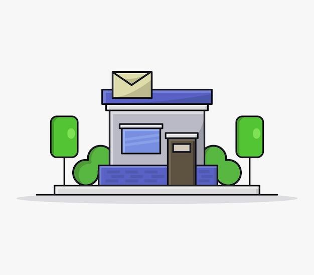 Urząd pocztowy zilustrowany w kreskówce