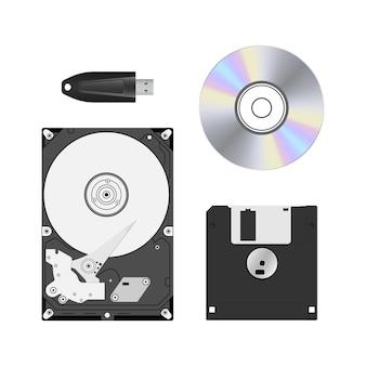 Urządzenia do przechowywania danych ustawione na białym tle