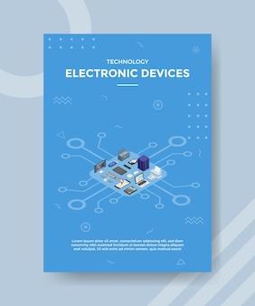 Urządzenia elektroniczne ustawiają koncepcję kolekcji dla banera szablonu i ulotki w stylu izometrycznym