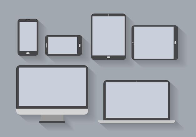 Urządzenia elektroniczne z pustymi ekranami. smartfony, tablety, monitor komputerowy, netbook.