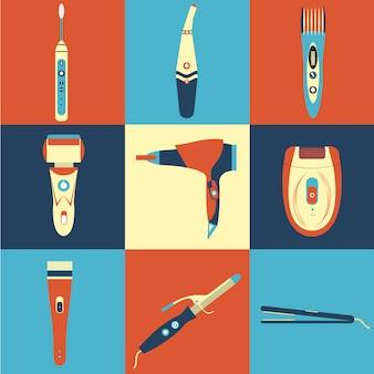Urządzenia elektryczne ikony kolekcji