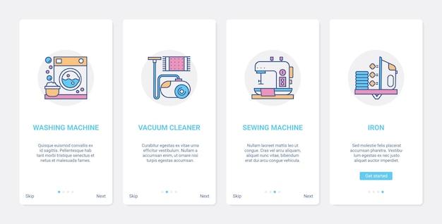 Urządzenia gospodarstwa domowego z linii kuchennej do czyszczenia zestawu ekranów strony aplikacji mobilnej ux, ui
