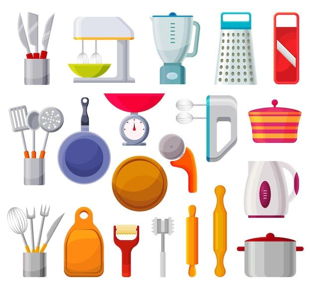 Urządzenia kuchenne na białym tle