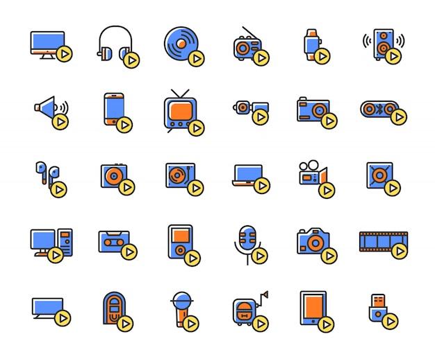 Urządzenia multimedialne i odtwarzacze wypełnione zestaw ikon konspektu.