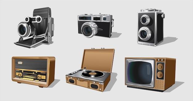 Urządzenia retro, zestaw maszyn vintage. kolekcja z radiotorem retro vintage.