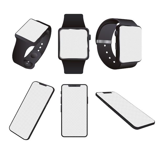 Urządzenia typu smartwatche i smartfony na białym tle