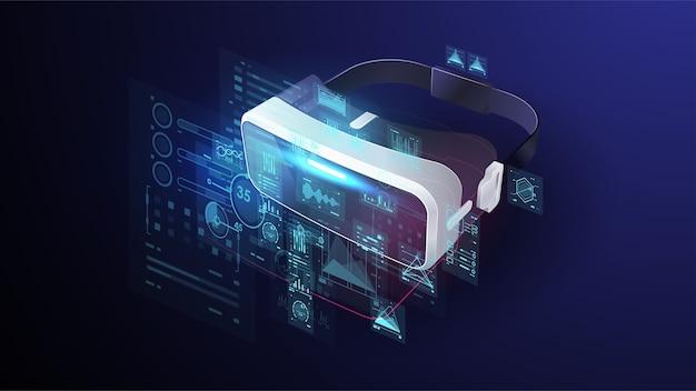 Urządzenia vr, wirtualne okulary i kontrolery, gogle wirtualnej rzeczywistości, joystick, narzędzia do grania w elektroniczne gry wideo w cyfrowej cyberprzestrzeni. futurystyczny plakat.