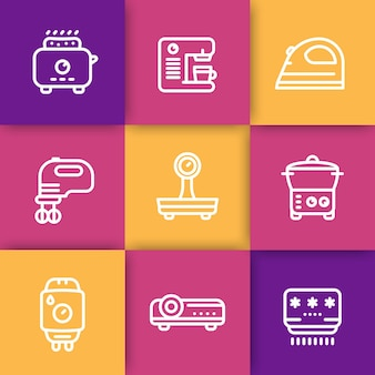 Urządzenia, zestaw ikon linii elektroniki użytkowej, toster, ekspres do kawy, mikser, żelazko, waga, parowiec, kocioł domowy, projektor, klimatyzator, ilustracji wektorowych
