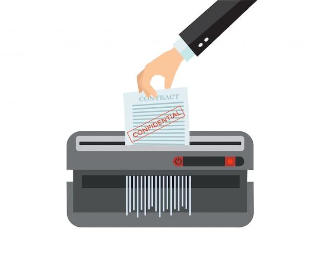 Urządzenie biurowe do niszczenia dokumentów. ręka mężczyzny umieszczenie papieru w maszynie niszczarki. koncepcja rozwiązania dokumentu. ochrona informacji w prywatnym biurze dokumentów. ilustracja kreskówka płaski
