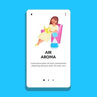 Urządzenie do oczyszczania domu zapach powietrza w pokoju wektor. kobieta siedzi w fotelu i czyta książkę, w pobliżu pracy elektrycznego dyfuzora olejków zapachowych powietrza. charakter aromaterapia gadżet web płaskie ilustracja kreskówka
