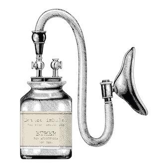 Urządzenie inhalator do eteru znieczulenia vintage clipartów rysunek ręka izolować na białym tle