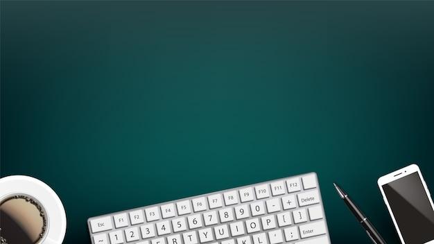 Urządzenie komputerowe na roboczym biurku płaskim lay