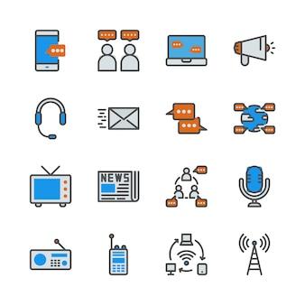 Urządzenie komunikacyjne w zestawie ikon linii kolorów