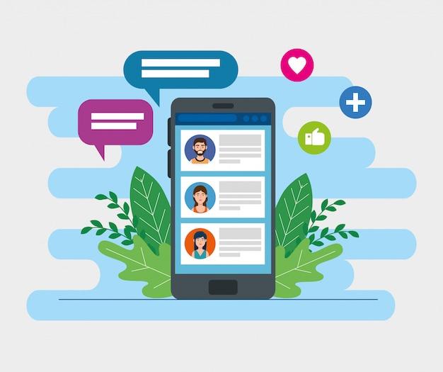 Urządzenie smartphone z czatem i mediami społecznościowymi