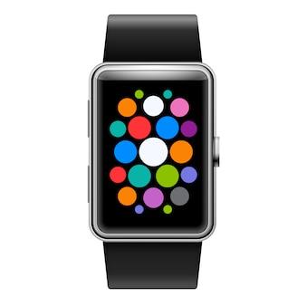 Urządzenie wearables smart watch z kolorowymi ikonami aplikacji