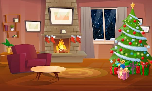 Urządzony pokój bożonarodzeniowy