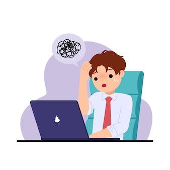 Urzędnik czuje się zestresowany i zmartwiony. rozwiązywanie problemów. wyzwanie w pracy. biuro clipart. ilustracja na białym tle.