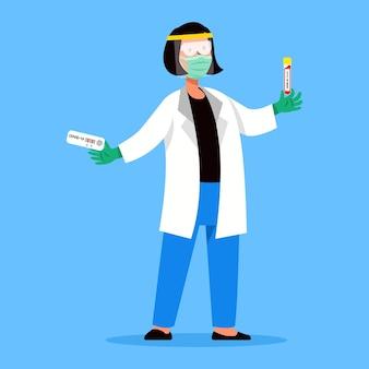 Urzędnik ds. zdrowia trzymający narzędzie diagnostyczne covid
