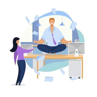 Urzędnik medytuje płaską ilustrację