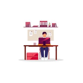 Urzędnik, pracownik z laptop płaską wektorową ilustracją. mężczyzna pracujący przy biurku. menedżer, projektant, programista korzystający z komputera. miejsce pracy, wnętrze przestrzeni roboczej