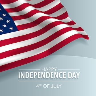 Usa dnia niepodległości szczęśliwy kartka z pozdrowieniami, sztandar, ilustracja