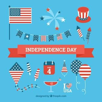 Usa Dzień Niepodległości płaski element kolekcja