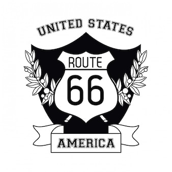 Usa emblemat trasy 66 znak i wstążki transparent wektor ilustracja projekt graficzny