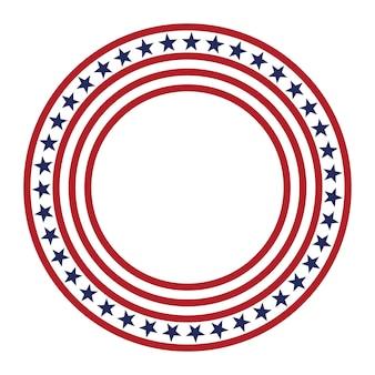 Usa gwiazda wektor wzór okrągła rama amerykańska patriotyczna granica koła z gwiazdami i paskami
