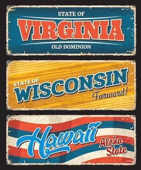Usa hawaje, ameryka wirginia i wisconsin stanowią metalowe płyty