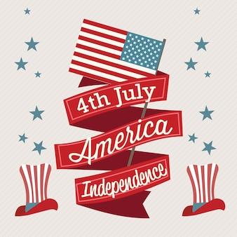 Usa ikony (4 lipca dzień niepodległości) z kapeluszem i flagą