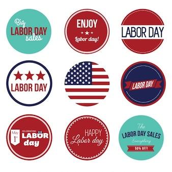 Usa labor day rocznika etykiety zestaw