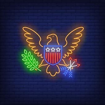 Usa neon znak herbu