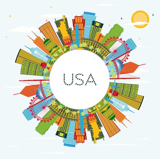 Usa skyline z kolorowymi wieżowcami i zabytkami. ilustracja wektorowa. podróże służbowe i koncepcja turystyki z nowoczesną architekturą. obraz banera prezentacji i witryny sieci web.