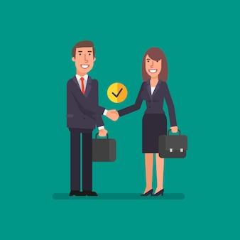 Uścisk dłoni biznesmen i biznesowa kobieta trzyma walizkę i uśmiechnięta ilustracja wektorowa
