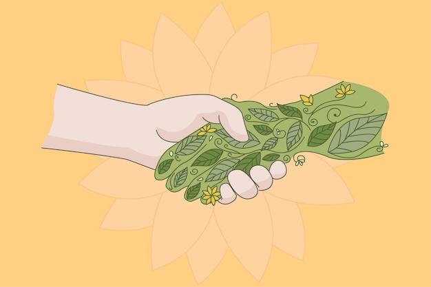 Uścisk dłoni człowieka zielona roślina pokazuje troskę o naturę