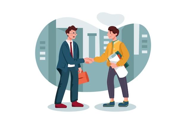 Uścisk dłoni klienta z agentem marketingowym